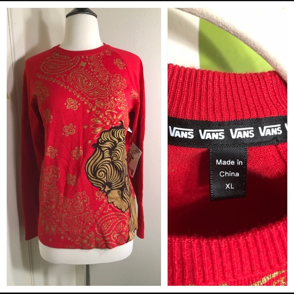 Vans Sweaters Girls Red Knit Sweater Size Xl Nwt Poshmark